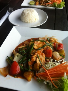 sweet and sour chicken at Black Pearl Restaurant, Koh Lanta